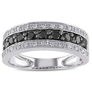 Miadora 14k Gold 3/4ct TDW Black and White Diamond Ring
