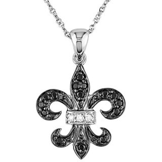 Miadora 10k Gold 1/8ct Black and White Diamond Fleur De Lis Necklace