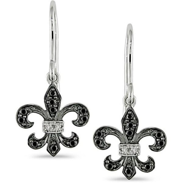 Miadora 10k Gold 1/10ct TDW Black and White Diamond Dangle Earrings