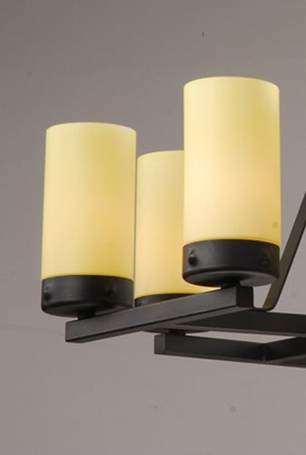 Black 8-light Iron Linear Chandelier - Thumbnail 1