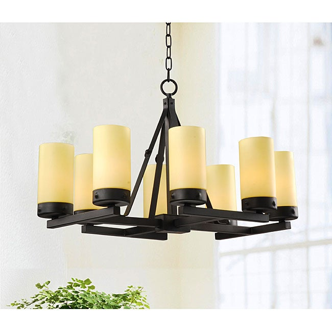 Black 8-light Iron Linear Chandelier