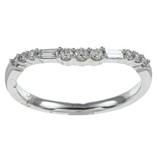 Eloquence 14k White Gold 1/4ct TDW Diamond Curved Ring
