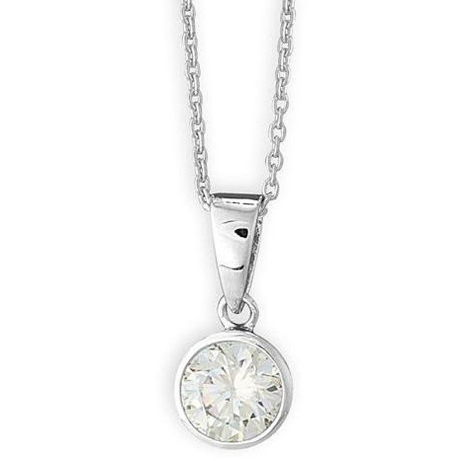 Simon Frank 14k White Gold Overlay CZ Solitaire Necklace