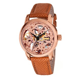 Akribos XXIV Women's Skeleton Automatic Rose-Tone Strap Watch