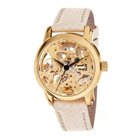 Akribos XXIV Women's Skeleton Automatic Goldtone Snakeskin Texture Strap Watch