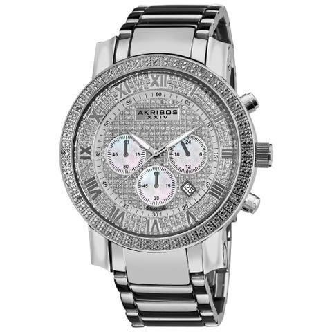 Akribos XXIV Men's Diamond Accent Quartz Chronograph Bracelet Watch