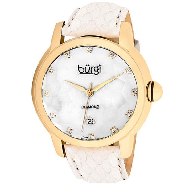 Burgi Women's Diamond Quartz Date Watch, White Strap