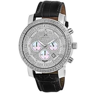Joshua & Sons Men's Diamond Chronograph Leather-Strap Watch|https://ak1.ostkcdn.com/images/products/3465759/P11538110.jpg?impolicy=medium