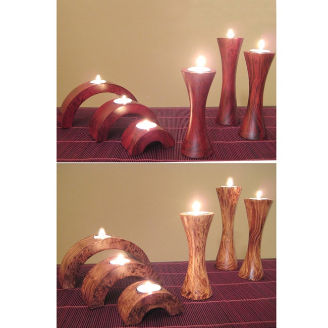 Arched and Fluted Cherry Candle Holders (Set of 6)