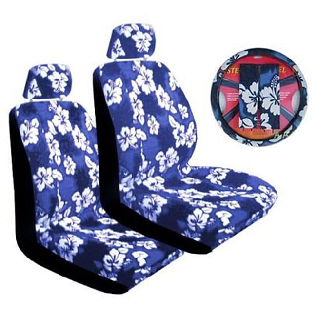 Blue Hibiscus 7-piece Car Accessories Set