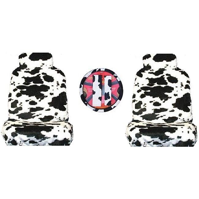 Cow Print 7-piece Car Accessories Set