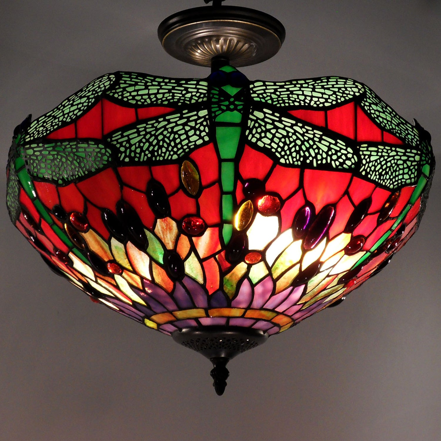 Tiffany Style Dragonfly Ceiling Lamp Free Shipping Today