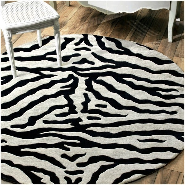 Nuloom Black And White Rug: Shop NuLOOM Zebra Animal Pattern Black/ White Wool Rug