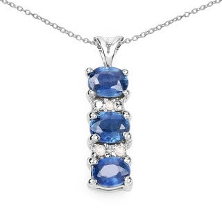 Malaika Sterling Silver 3/4ct Blue Sapphire and Diamond Necklace