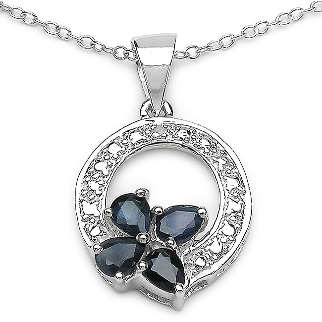 Malaika Blue Sapphire and Diamond Butterfly Necklace