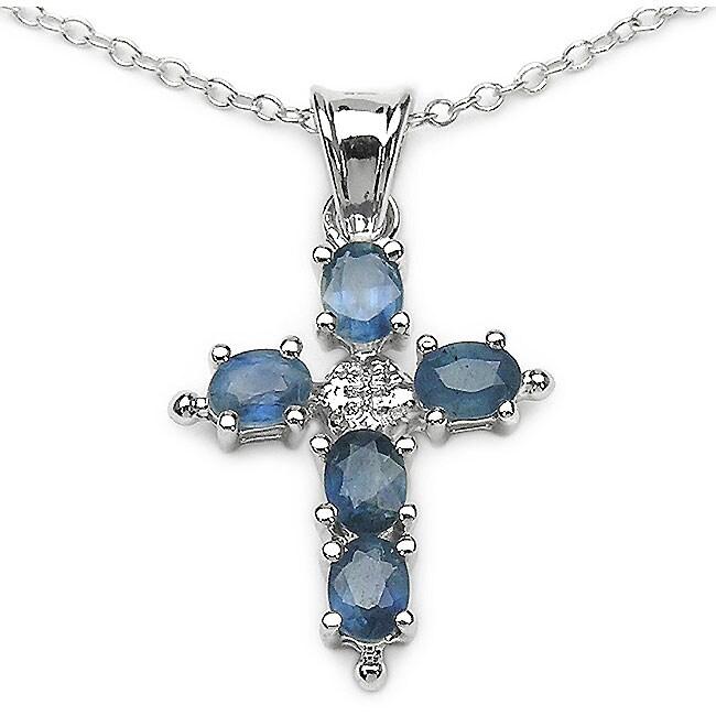 Malaika Sterling Silver Blue Sapphire Cross Necklace