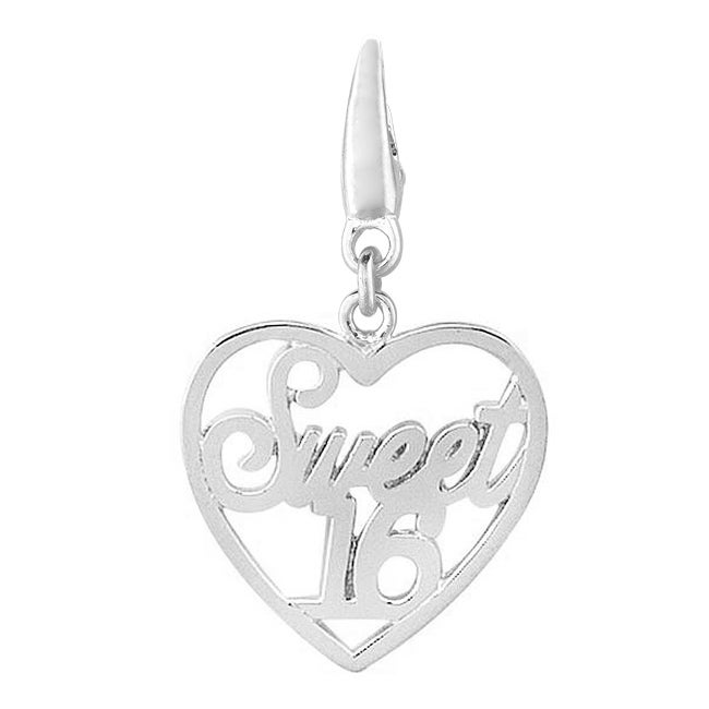 Sterling Silver 'Sweet 16' Heart Charm - Thumbnail 0