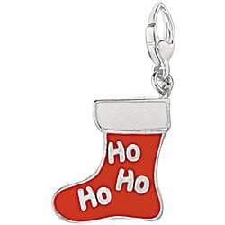 Sterling Silver Enamel Christmas Stocking Charm