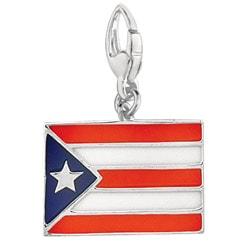 Sterling Silver Enamel Puerto Rico Flag Charm