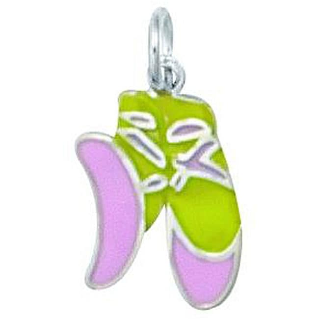 Sterling Silver Enamel Ballet Slippers Charm