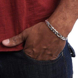 Link to Figaro 8-Inch Silver Overlay Bracelet by Simon Frank Designs (8-inch) Similar Items in Men's Jewelry
