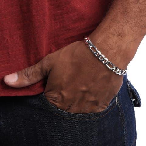 Figaro 8-Inch Silver Overlay Bracelet by Simon Frank Designs (8-inch)