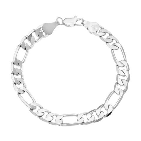 Simon Frank 14k White Gold Overlay 8-inch Figaro Chain Bracelet