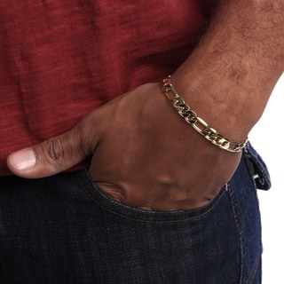 Simon Frank 14k Yellow Gold Overlay 8 Inch Figaro Chain Bracelet