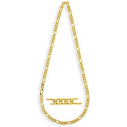 Simon Frank 14k Gold Overlay 6mm Figaro Necklace (24-inch)