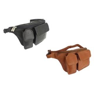 Piel Top-grain Leather Adjustable Zip-pocket Waist Bag Fanny Pack (2 options available)