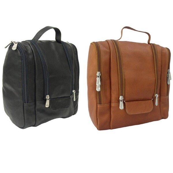 Piel Top Grain Leather Hanging Travel Toiletry Kit
