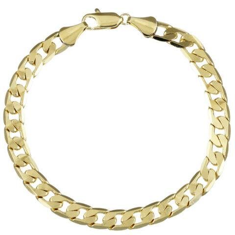 7mm Cuban Bracelet (8-Inch) Gold/Silver Overlay by Simon Frank Designs