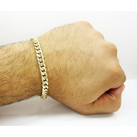 Simon Frank Designs 7mm Cuban Gold or Silver Overlay Bracelet (8-inch)