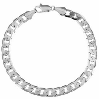 Simon Frank Designs 7mm Cuban Gold or Silver Overlay Bracelet (8-inch) (Option: Silver Overlay - White)