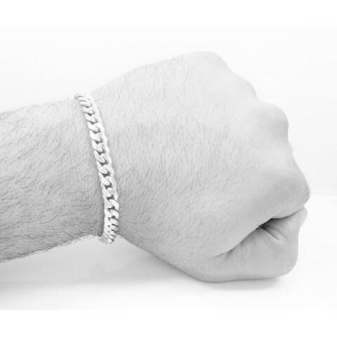 "Simon Frank Designs 7mm Cuban Silver Overlay 8"" Bracelet"