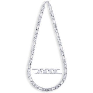 Simon Frank 14k White Gold Overlay 10mm Figaro Necklace (24-inch) (Option: Silver Overlay)