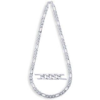 Simon Frank 14k White Gold Overlay 10mm Figaro Necklace (24-inch)