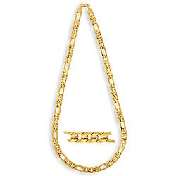 Simon Frank 14k Yellow Gold Overlay 10mm Figaro Necklace (24-inch)