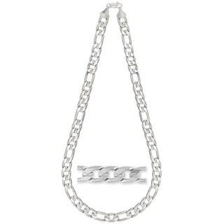 Simon Frank 14k White Gold Overlay 12mm Figaro Necklace