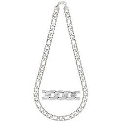Simon Frank 14k White Gold Overlay 12mm Figaro Necklace