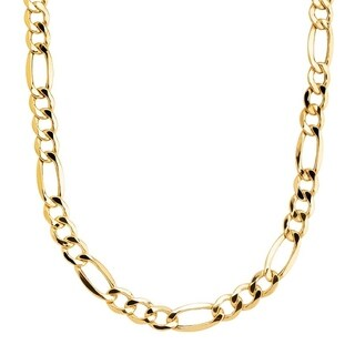 Simon Frank Yellow Gold Overlay 12mm Figaro Chain (24-inch)