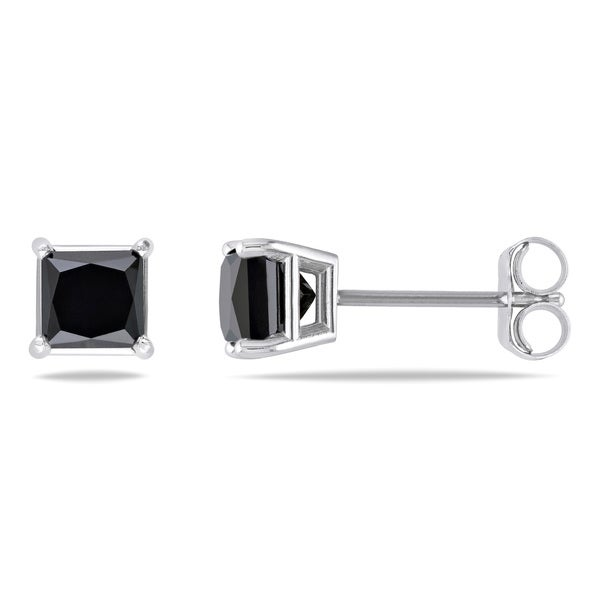 Miadora 14k Gold 1ct TDW Princess Black Diamond Stud Earrings