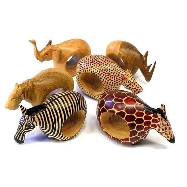 Global Crafts Handmade Set of Six Safari Napkin Rings (Ke...