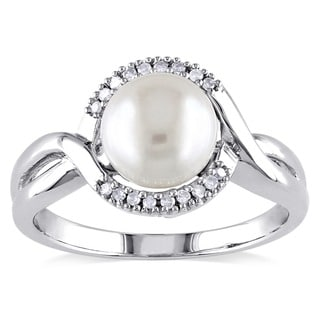 Miadora Sterling Silver Cultured Freshwater Pearl and Diamond Accent Ring (7-8 mm)