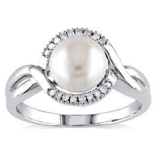 Miadora Sterling Silver Cultured Freshwater Pearl and Diamond Accent Ring (7-8 mm)|https://ak1.ostkcdn.com/images/products/3470691/P11542236.jpg?impolicy=medium