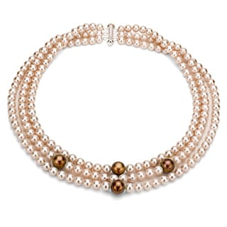 DaVonna Silver 3 Row Pink And Brown FW Pearl Necklace 6 11 Mm