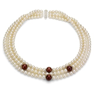 DaVonna Silver 3-row White and Brown FW Pearl Necklace (6-11 mm)