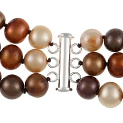 DaVonna Silver 3-row Dark Multi FW Pearl Necklace (8-9 mm) - Thumbnail 1