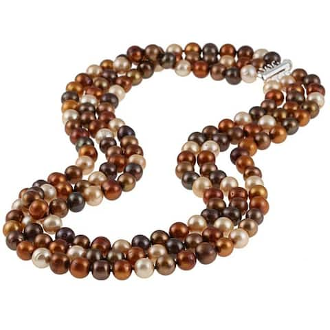 """DaVonna Sterling Silver 8-9mm 3-row Dark Multi Freshwater Pearl 3-rows Necklace, 18"""""""