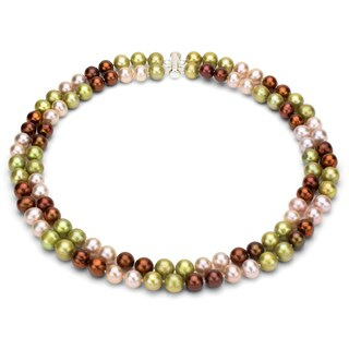 DaVonna Sterling Silve 2-row 9-10mm Freshwater Pearl Necklace, 18 inches with Gift Box (Option: champagne)